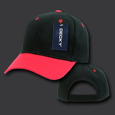 Black & Red Plain Blank Solid Adjustable Tennis Baseball Ball Cap Hat Caps Hats