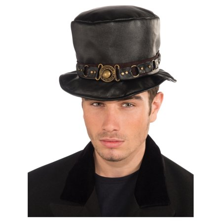 Deluxe Mens Womens Steampunk Black Costume Belted Faux Leather Top Hat - Top Hat Costume