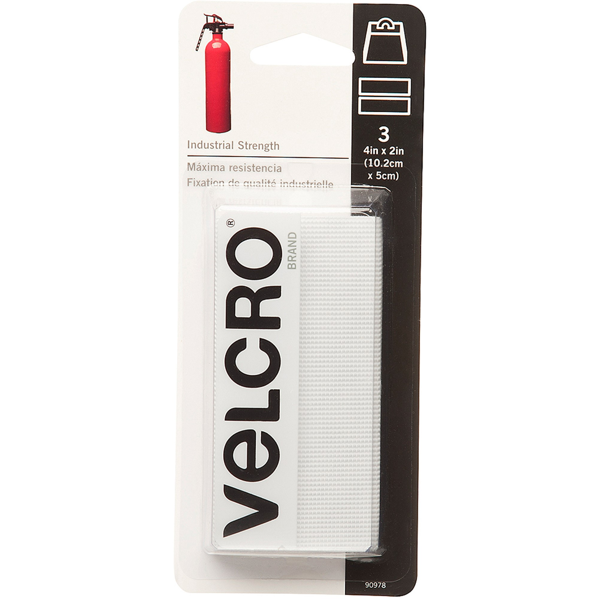 VELCRO® Brand Industrial Strength 4in x 2in Strips, White - 3 ct.