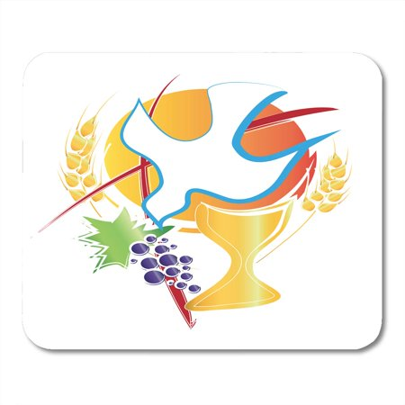 KDAGR Eucharist Symbol Chalice Holy Spirit Dove Grapes and Wheat Cross First Communion Abstract Mousepad Mouse Pad Mouse Mat 9x10
