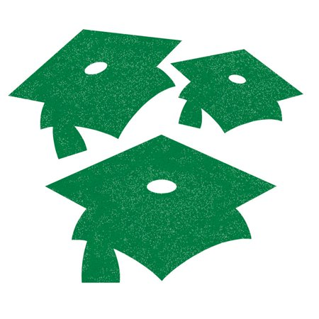 Club Pack of 72 Emerald Green Graduation Cap Mini Glitter Cutouts - Green Graduation