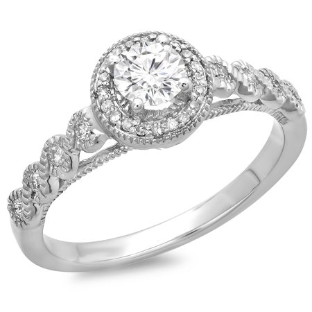 Dazzlingrock Collection 0.55 Carat (ctw) 14K Round Diamond Bridal Millgrain Halo Engagement Ring 1/2 CT, White Gold, Size 5