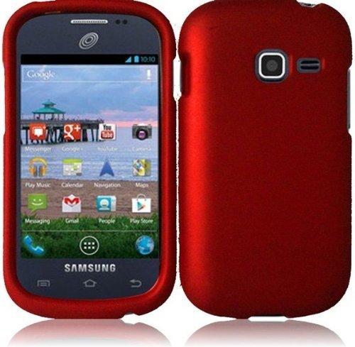 Hard Rubberized Case for Samsung Galaxy Centura S738C - Red