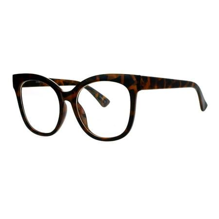 SA106 Womens Flat Lens Oversize Horn Rim Clear Lens Eye Glasses (Rim Horn Glasses)