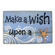 Make A Wish Upon A Starfish Painted Wood Wall Plaque 11.75 Inches
