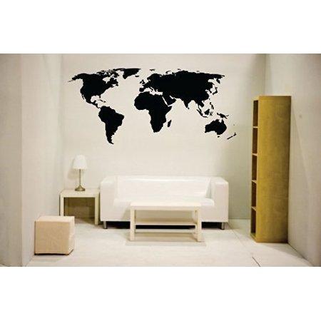 World Map Wall Decal Vinyl Art Sticker Home Decor, Large, Black ()