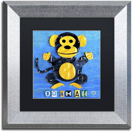 Trademark Fine Art 'Oo Ah Ah the Monkey' Canvas Art by Design Turnpike, Black Matte, Silver