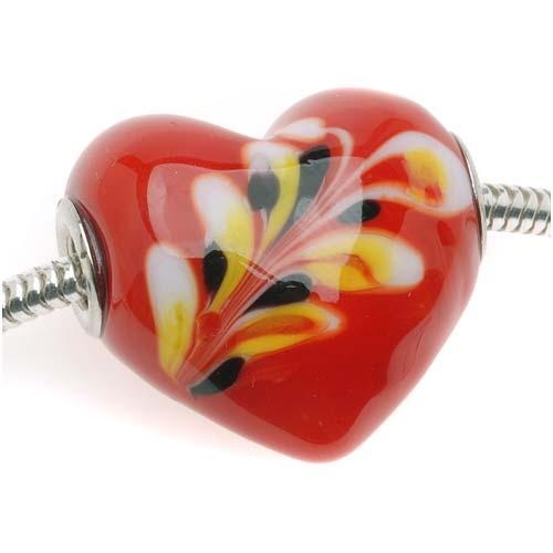 Murano Style Glass Lampwork Red Flame Swirl Large Heart European Style Bead - 25mm (1)