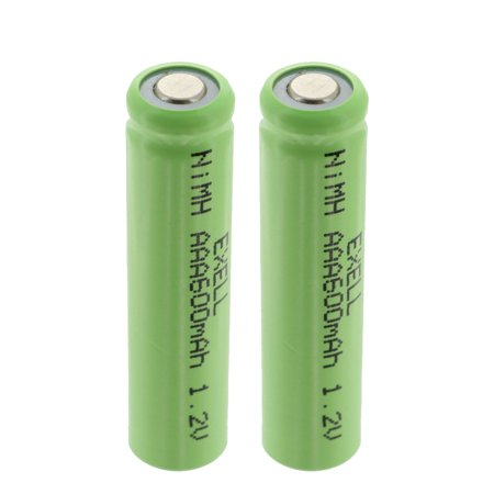 2x Exell 1.2V 600mAh NiMH AAA Size Rechargeable Flat Top Batteries FAST USA SHIP ()