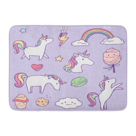 GODPOK White Graphic Pink Cute Cartoon Collection with Unicorns Sweets Stars Clouds and Rainbow Colorful Drawing Rug Doormat Bath Mat 23.6x15.7 inch