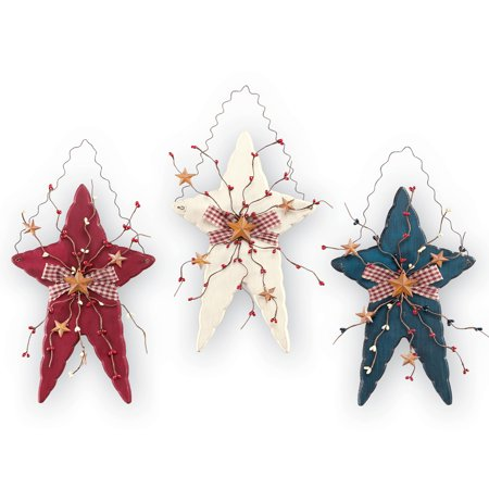 Rustic Country Patriotic Hanging Wall Stars, Set of 3 - Red, White, and Blue with Berries and Bows, Attached Hooks for Easy Hanging (Red White And Blue Star)