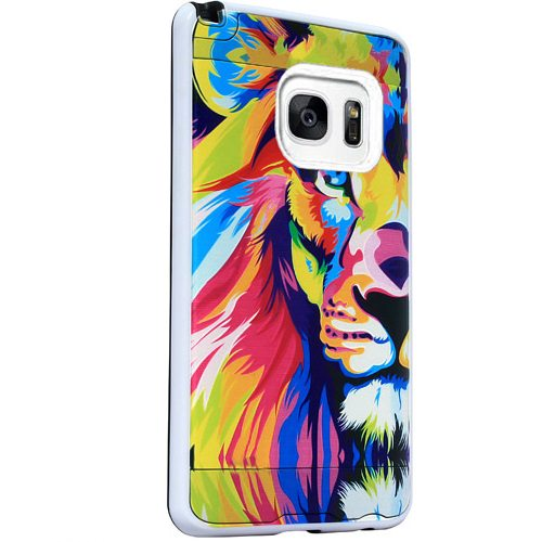 Mundaze Samsung Galaxy S7 EDGE Colorful Lion Brushed Armor Anti-Shock Phone Case