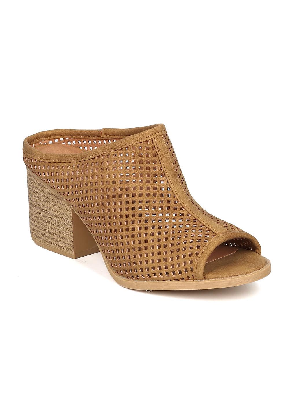 New Women Qupid Core-33 Nubuck Peep Toe Perforated Block Heel Mule