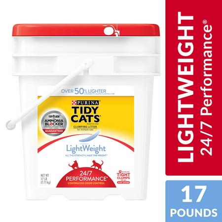 Purina Tidy Cats Light Weight, Dust Free, Clumping Cat Litter, LightWeight 24/7 Performance Multi Cat Litter - 17 lb. Pail (Kitty Litter Dust)