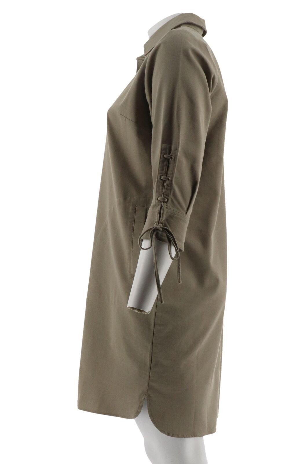 Linea Louis Dell/'Olio Stretch Denim Dress Lace Up Slv Camo XL NEW A304747