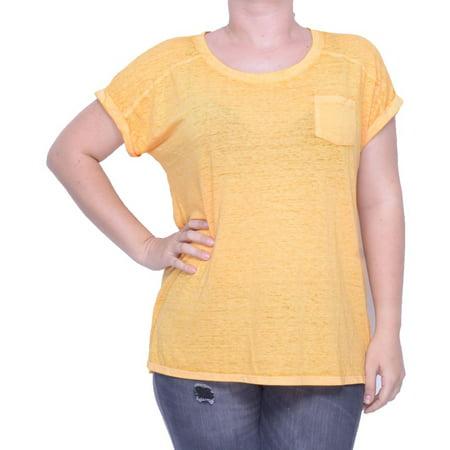 Style & Co Women's Burnout Short Sleeve T-Shirt Honey Glaze Size XL