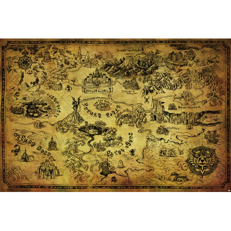 Legend Of Zelda Map High Fantasy Action Adventure Video Game Poster   36X24 Inch