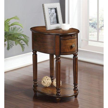 ACME Peniel Side Table, Dark Oak (Oak Oval Extension Table)