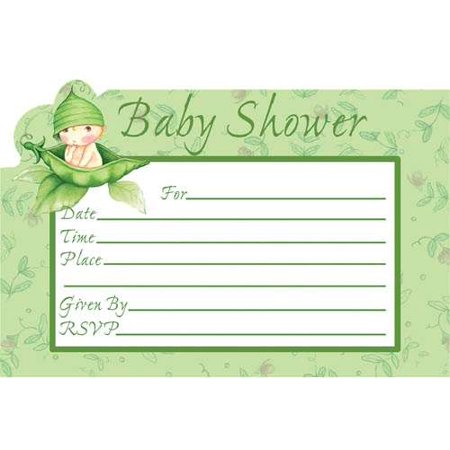 Baby Shower 'Sweet Pea' Invitations w/ Envelopes (Sweet Pea Announcements)