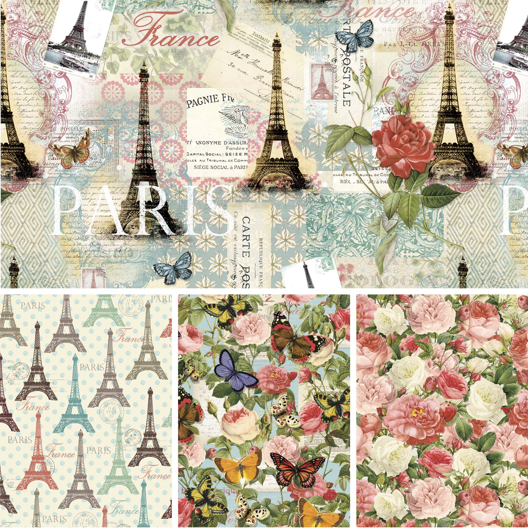 David Textiles Cotton Precut Fabric Paris Spring Collection 1 Yd X 44 Inches
