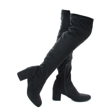 autumn04s by Bamboo, Black Faux Suede Over The Knee OTK Pull On High Block Heel