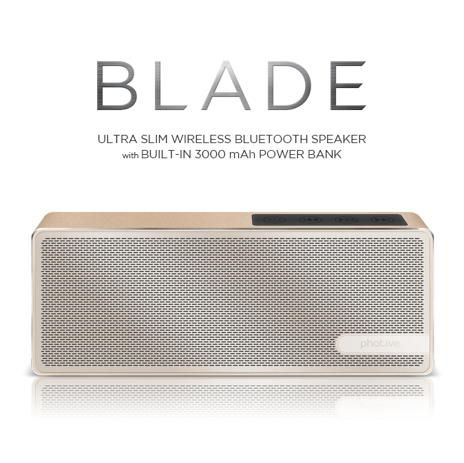 Photive Blade Portable Wireless Bluetooth Speaker High Performance Bluetooth Speaker with Built-in Microphone - Aluminum Gold