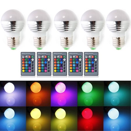 Ktaxon 5-Pack Dimmable A19 Magic RGB LED Light Bulbs, Color Changing, 160 Beam Angle, 3W, 16 Color Choice, Remote Controller Included, E27 Medium Base for $<!---->