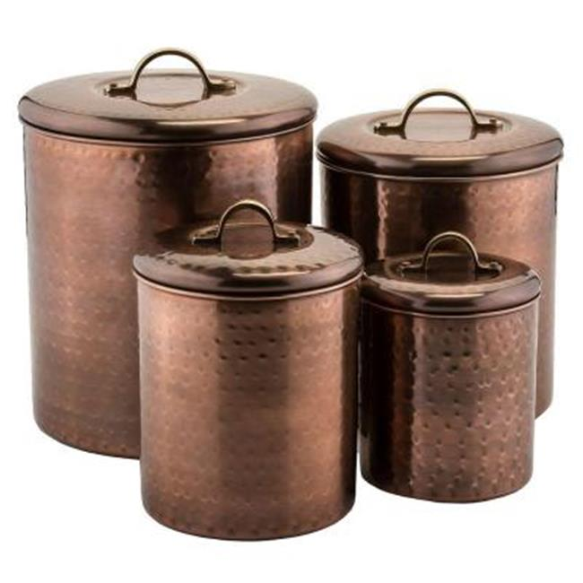 Old Dutch International 1843 Hammered Antique Copper Canister, 4 Piece