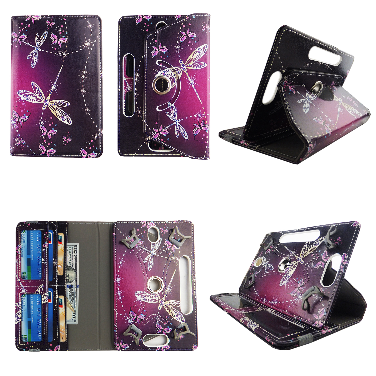 "Sparkly Butterfly tablet case 10 inch for LG G Pad 10.1 10"" 10inch android tablet cases 360 rotating slim folio stand protector pu leather cover travel e-reader cash slots"