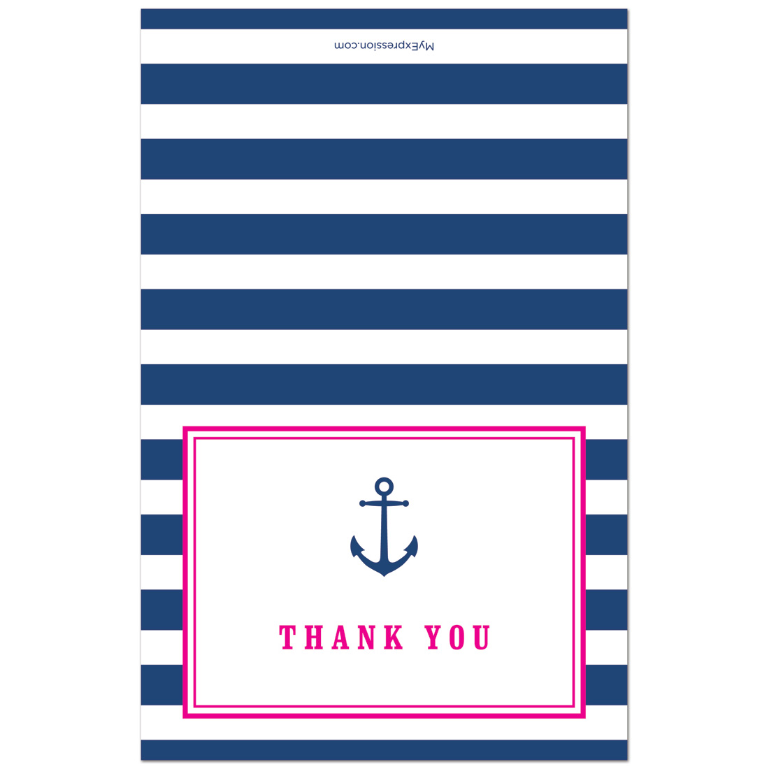 Navy Stripes Anchor Light Blue Thank You Cards and Envelopes - 50 count