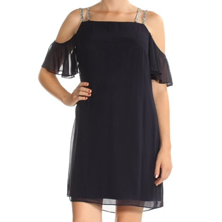 - MSK Womens Navy Beaded Short Sleeve Square Neck Mini Shift Dress  Size: 8