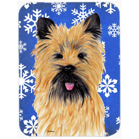 Carolines Treasures SC9375LCB Cairn Terrier Winter Snowflakes Holiday Glass Cutting Board - Large - image 1 de 1