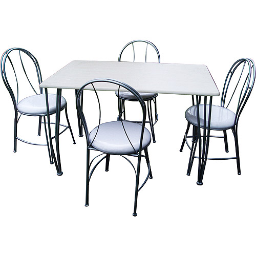 5-Pc. Dining Set With Curved-Back Metal Chairs