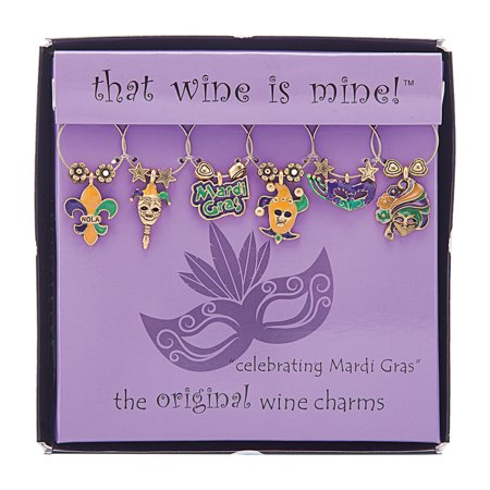 Mardi Gras Wine (Wine Things 6-Piece Celebrating Mardi Gras Wine Charms, Painted)
