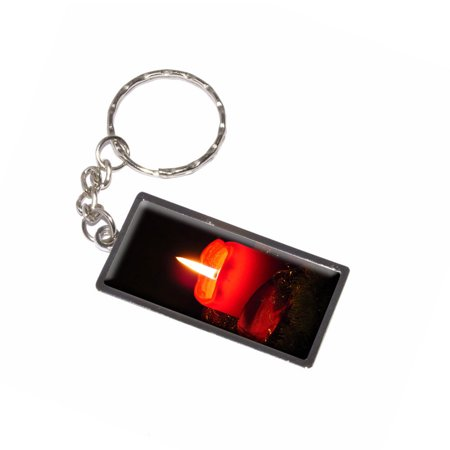 Christmas Candle - Advent Wreath Holiday Metal Rectangle Keychain