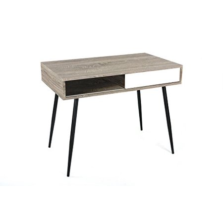 Weathered Grey Oak / White Finish Mid-Century Style Computer Home Office Writing Desk, 40