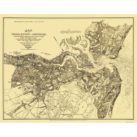 Civil War Map Print - Charleston & Defenses - 1863 - 29.06 x 23