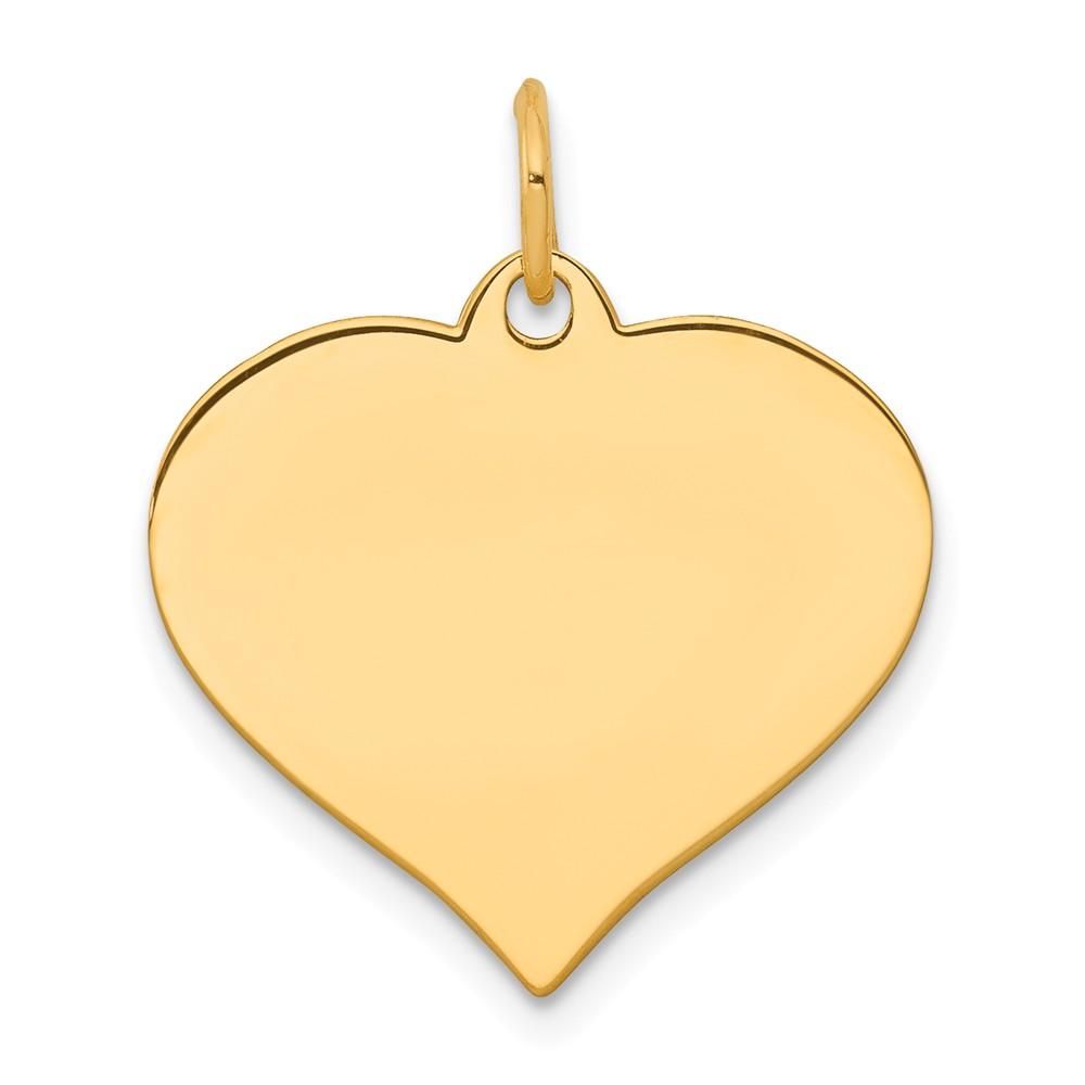 Solid 14k Yellow Gold Heart Disc Pendant Charm (18mm x 22mm)