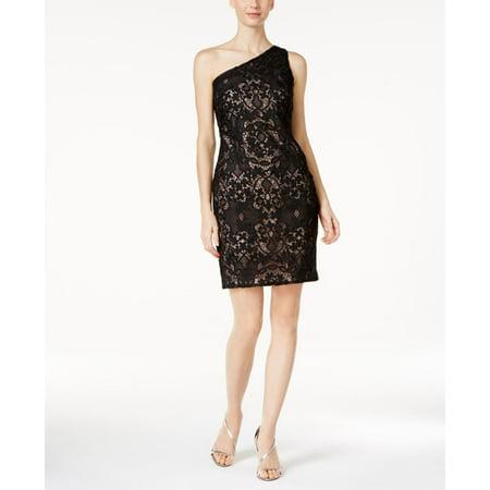 (Calvin Klein One-Shoulder Lace Sheath Dress)