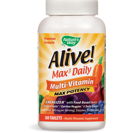 Alive! Max3 Daily Multivitamin Supplement with Iron, Max Potency, 180