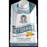 Califia Farms Vanilla Better Half Coffee Creamer, 16.9 Fl Oz | Coconut Cream and Almondmilk | Half & Half | Dairy Free