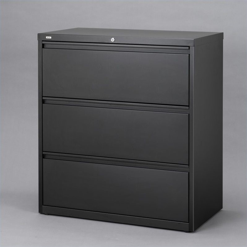 Hirsh Industries 10000 Series 3 Drawer Lateral File Cabinet In Black