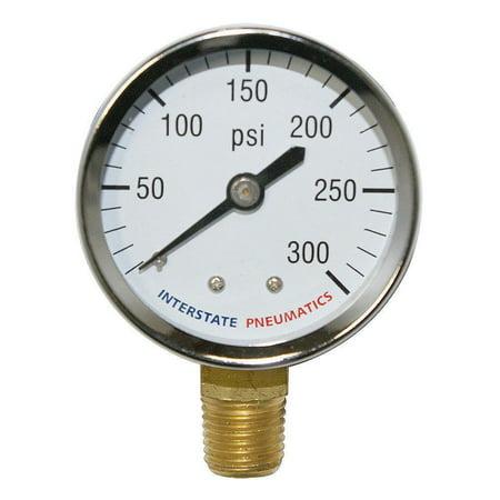 "Interstate Pneumatics G2012-300C Chrome Pressure Gauge 300 PSI 2"" Diameter 1/4"" NPT Bottom Mount"
