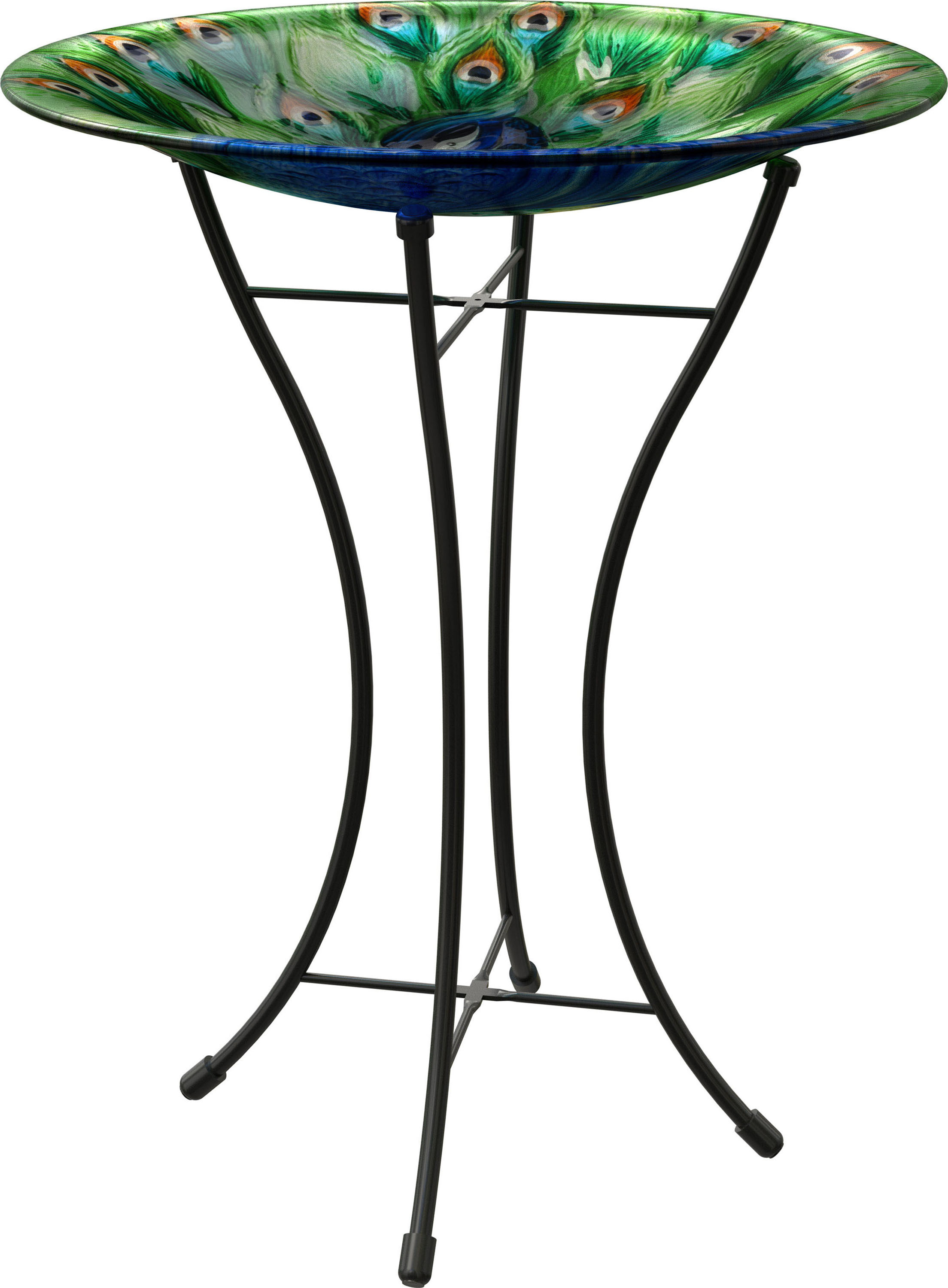 PEACOCK GLASS Birdbath WITH STAND by PANECEA