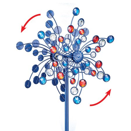 Double Americana Sparkling Spinner Stake  - Festive Fourth of July or Memorial Day Decorative Yard Accent