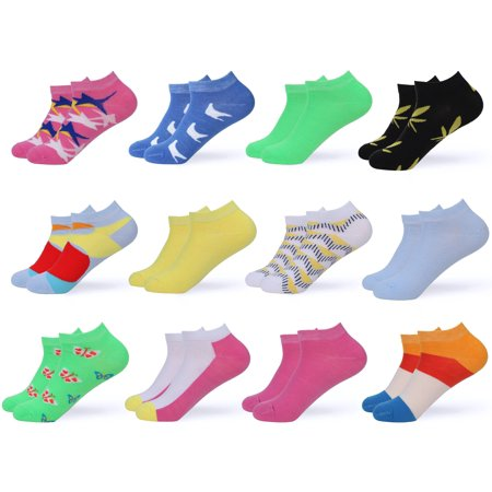 Women's Ankle Socks - Low Cut Colorful Socks For Women - Patterned Short Cut Fashion Socks Assorted Colors - 12 Pack - By Gallery Seven - Color 1