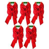 "9"" x 16"" Decorative Red Velvet Christmas Bows (10 Pack)"