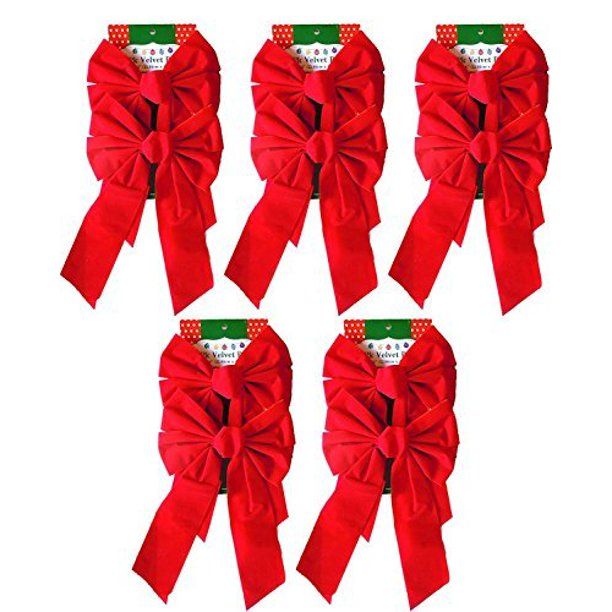 "9"" x 16"" Decorative Red Velvet Christmas Bows (10 Pack)"