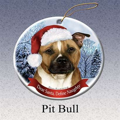 Pit Bull Dog Santa Hat Christmas Ornament Porcelain China USA-made ()