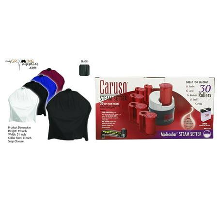 Caruso Molecular Hairsetter (MGS Black Cape & Caruso C97953 30 Molecular Steam Hairsetter with 30 Rollers Bundle )